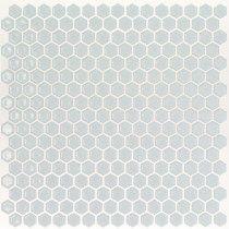 Eden Rimmed Modern Gray Hexagon Polished Ceramic Tile