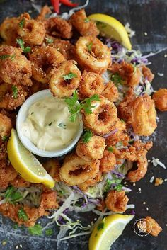 Fried Calamari recipe - Marinating the squid in buttermilk defeats the rubber ba. - Fried Calamari recipe – Marinating the squid in buttermilk defeats the rubber band effect some fr - Tapas Recipes, Fish Recipes, Cooking Recipes, Tapas Food, Squid Recipes, Tapas Ideas, Spanish Food Recipes, Shrimp Recipes, Cheese Recipes