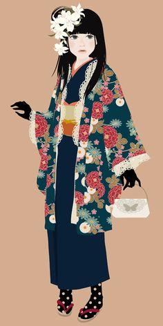 Kimono girl - 着物の少女 by Katogi Mari