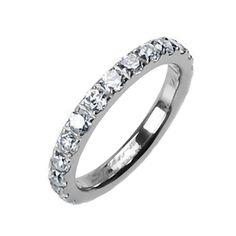 Fiora: 1.5ct Russian Ice on Fire CZ Titanium Eternity Band Ring - Trustmark Jewelers