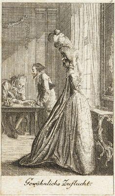 """""""Gewoehnliche Zuflucht,"""" print from dem Leben eines schlecht erzogenen Frauenzimmers, Daniel Nikolaus Chodowiecki, etching, 1779, German."""