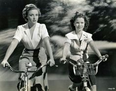 Celebrities and their self-propelled vehicles: Shirley Temple + bicycle