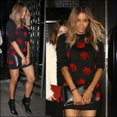 #Ciara in Opening Ceremony Lucky Rose Sweatshirt dress and Christian Louboutin Mado Lace-Up ankle boots. #fashion #style #christianlouboutin