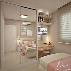 Trendy bedroom ideas for small rooms closet Girl Bedroom Designs, Room Ideas Bedroom, Small Room Bedroom, Closet Bedroom, Trendy Bedroom, Diy Bedroom, Bedroom Storage Ideas For Clothes, Bedroom Girls, Bedroom Ideas For Small Rooms For Girls