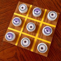 DIY Minions Tic-Tac-Toe using recycled water bottle caps.