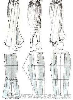 Sewing Pattern Drafting:  Harem pants.  This site is filled with so many different styles and ideas.