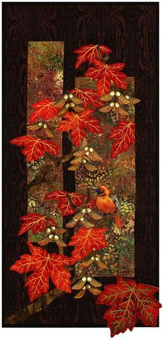 """Maplewood Applique Quilt von Helene Knott - 12 """"x Quilt - Maplewood Applique Quilt von Helene Knott – 12 """"x Quilt – PaperPiecedQuilti … - Quilting Projects, Quilting Designs, Landscape Art Quilts, Tree Quilt, Quilt Art, Quilt Modernen, Fall Quilts, Thread Painting, Quilted Wall Hangings"""