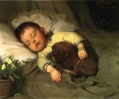 """""""Every puppy shoud have a boy."""" ~Erma Bombeck (Sleep ABBOT HANDERSON THAYER c.1921 AMERICAN) Simply Genre©"""