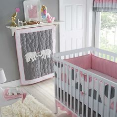 pink and grey crib bedding girls | ... Classics Pink Parade 4 Piece Crib Bedding Set Pink Grey | eBay