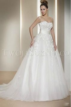Sexy Ball Gown Strapless Appliques and Tulle Wedding Dresses