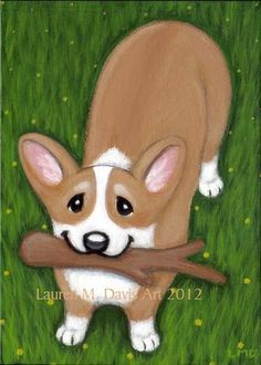 Pembroke Welsh Corgi Dog and Stick Playful Puppy Original Acrylic Painting on a 5x7 inch Flat Canvas Board painted in 2012 By Florida Animal Artist Lauren M. Davis Art SOLD
