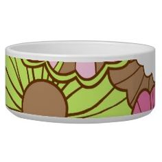 Pretty Pink Green Flowers Spring Floral Pattern Pet Bowl