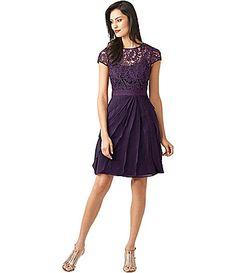 Adrianna Papell Short LaceBodice Flutter Dress #Dillards