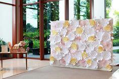 Beautiful paper flower wedding backdrop | Handcrafted Wedding with a Paper Flower Backdrop: Brian + Tiffany