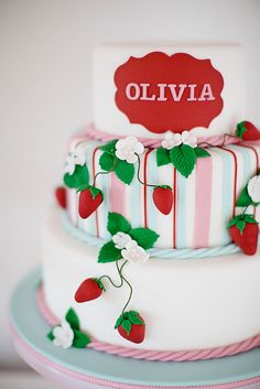 Cake at a Strawberry Party #strawberry #partycake