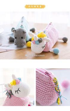 Crochet Pencil Case, Crochet Pouch, Crochet Purses, Crochet Dolls, Pencil Case Pattern, Diy Crafts Crochet, Crochet Gifts, Crochet Projects, Crochet Unicorn Blanket