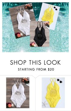 """""""Crochet Insert Backless Swimsuit"""" by chauert ❤ liked on Polyvore featuring http"""