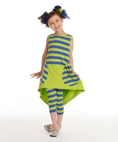 This Spring Stella Dress & Stripe Leggings - Toddler & Girls is perfect! #zulilyfinds