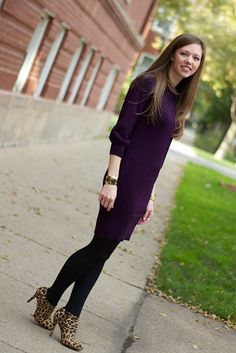Plum Sweater Dress with Leopard Booties. Not the Booties. Love the dress.