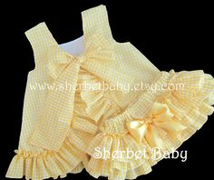 Gingham Check Ruffled Pinafore and Sassy Pants by SherbetBaby
