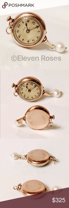 Vintage 1920's Ladies Gold Victorian Pendant Watch Vintage 1920's Gold Victorian Manual Wind Pendant Watch / Pocket Watch -  15 Jewel Movement -  14k Gold Filled Case - 585 14k Gold Pearl Charm / Dangle - Watch Is Running & Keeping Accurate Time - Hallmarked 14k On Dangle Clasp -  Exact Size As Shown - Very Good Vintage Condition w/ Some Signs of wear on back of case -  Listing Images Are Of The Actual Item Being Offered. Accessories Watches