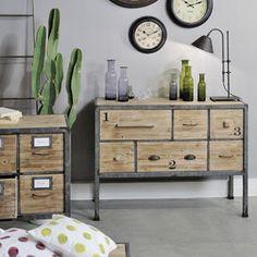 Buffet d'Atelier en bois et métal 6 tiroirs Jardin d'Ulysse 449e