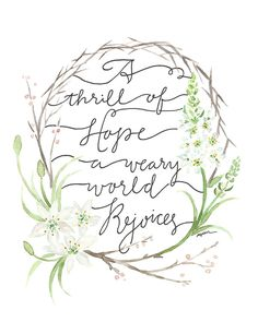 A Weary World Rejoices hand painted, hand lettered print, $16 8x10, $24 11x14 | gracelaced.com