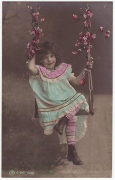 Antique French Postcards | French postcard - Little girl on a swing - Vintage hand tinted ...