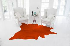 Cow skin rug Purple print red cowhide  Brand: Pura  Stunningly beautiful model, Coral and carrot. Orange Measurements 2.16 cm x 1,95 cm  - The Glamour at Home - The distinc... #alfombras #cebra #leopardo #kuhfell