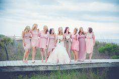 Pink Badgley Mischka Bridesmaids Dresses | Charleston, SC Beach Wedding #WildDunesWeddings wilddunes.com