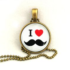 10% SALE Necklace Copper I Heart, Love Mustache Art Pendant Necklaces Gift. £7.69, via Etsy.