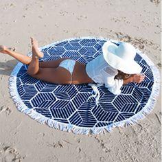 Bohemian Indian Mandala Tapestry and Aztec Pattern Printed Circular Round Beach Towel Blanket Mat L38353