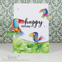 Vögel, Birds, Happy Birthday, Geburtstag, Card, Karte