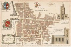 STOW, John. Billingsgate Ward and Bridge Ward Within with their Divisions into Parishes according to a New Survey. c.1754. #London #plan