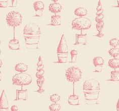 Topiary (W0032/03) - Clarke & Clarke Wallpapers - An elegant topiary tree motif design, with delicately drawn trees in pots - perfect for the English garden look. Shown here in raspberry - other colours available. Wide width. Please request sample for true colour match.