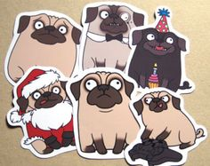 Pug Vinyl Stickers
