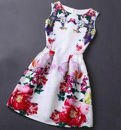 Slim Vintage Jacquard Printed Sleeveless Vest Dress WE08