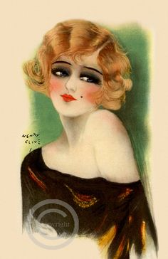 Art Deco Flapper Girl Print  Blonde Beauty door DragonflyMeadowsArt