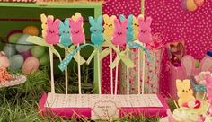 LOVE this idea... peeps on cookie sticks and tie a ribbon = peep pops! sooo easy and sooo CUTE! <3