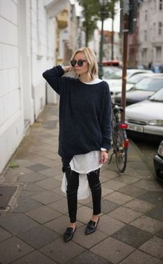 Oversized Sweater and a White Blouse | Loafers | Street Style | Winter Layers | Minimal | HarperandHarley