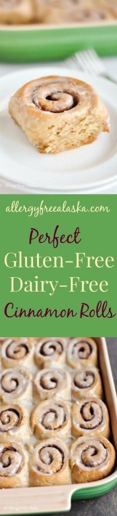 Perfect Gluten-Free Dairy-Free Cinnamon Rolls from Allergy Free Alaska. These rolls are amazing!