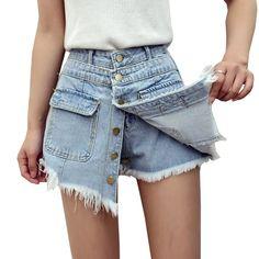 2017 New Summer Buried Vintage Shorts Skirts High Waist Denim Shorts Women All Match Short Jeans Plus Size Short Feminino Y163