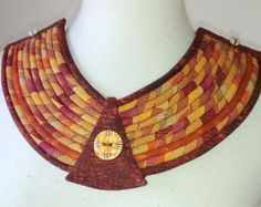 Batik Fabric Over the Head Multi Cord Necklace by paintedthreads2