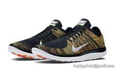 sports shoes 95482 5aa96 Men s Nike Free 4.0 Flyknit Orange Green Black. Chaussures ...