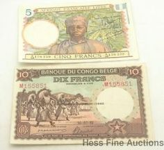 African Congo French Crisp Francs Currency Notes