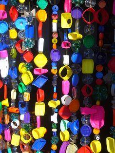 beaded curtain Arte e Objetos feita com Material Reciclado