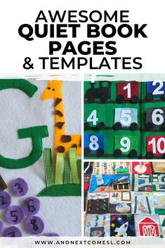 Lots of great quiet book ideas and templates for toddlers and kids. Plus, find some free patterns for quiet book pages too! #quietbooks #quietbook #busybook #busybooks Indoor Activities For Kids, Infant Activities, Preschool Activities, Baby Quiet Book, Felt Quiet Books, Toddler Books, Toddler Fun, Toddler Stuff, Quiet Book Tutorial