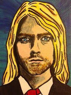 "Small, Hand-Painted Kurt Cobain Original Portrait Painting on Canvas - 3.5""x5"" by StellaAndEllieShop"