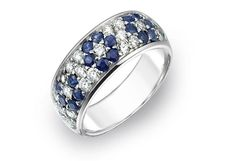 True Knots platinum fashion ring with blue sapphires and diamonds
