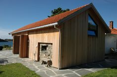 Cladding in red cedar wood. The folding shutters in open position. Cedar Cladding, Red Cedar Wood, Old Farm, Large Windows, Shutters, Facade, Shed, Outdoor Structures, Inspiration